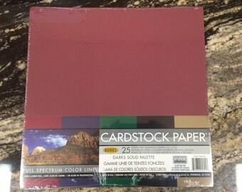 Red, Brown, Black, Green Darks Solid 12x12 Cardstock Paper Pack