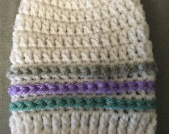 White with Grey,Purple,Green Stripes = Cast Cozy/Cast Sock/Toe Cover = Ready to ship.