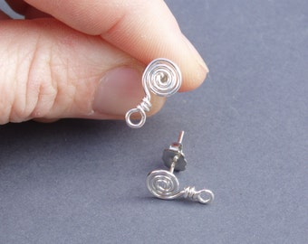 silver spiral post finding / post for dangle earrings / sterling silver earring post