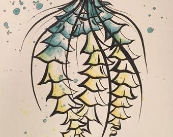 Turquoise Yellow Toned Jellyfish - HAND DRAWN PRINT