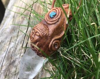Natural Clear healing Quartz, Howlite, Polmer clay Buddha Pendant
