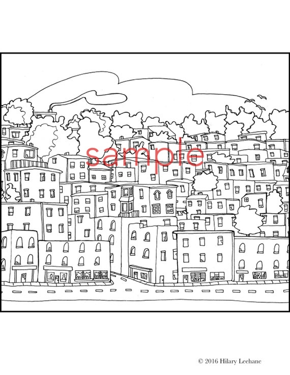 Adult Coloring Book Colouring Pages Page East Coast City