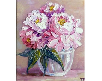 Pink Peonies in a Glass Bowl Original oil impasto painting No.04-24 ready to hang