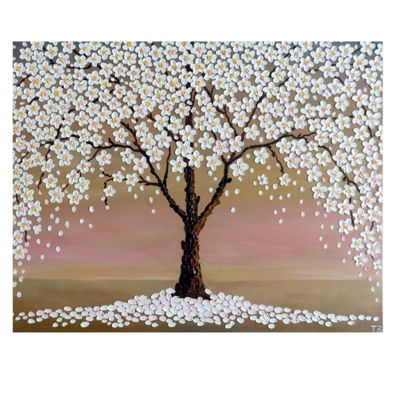 Cherry blossom tree free shipping original oil impasto for Cherry blossom canvas painting