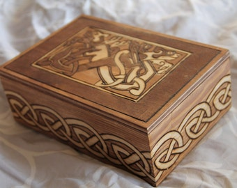 Wooden box, with celtic pattern, dogs and interlacing, fantasy, viking, medieval, brown