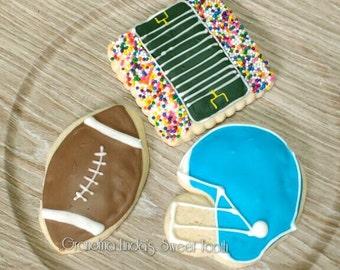 Football Cookies (12) - one dozen - football - helmet - football field - Sports - NFL - Birthday