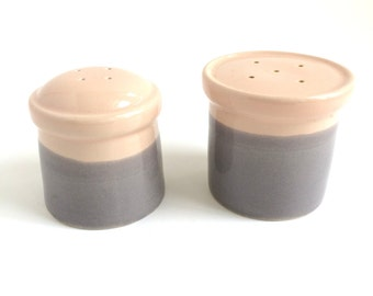 Mid Century Salt and Pepper Shakers - Pink and Grey Pottery - Pink and Grey Salt and Pepper - Mid Century Modern Kitchen Decor - Vintage