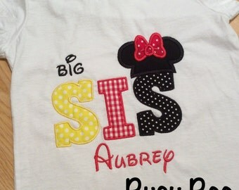 Appliqued Mickey or Minnie Big Lil Brother Sister Shirt