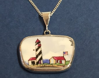 Antique Chinawear Lighthouse Pendant #30,011