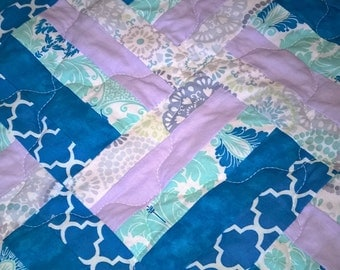 Lap Quilt, 41x58, Couch Blanket, Throw, Shapes, Purples, White, Greens, Blues, Floral Quilt, Fence Rail Quilt, Handmade Quilt