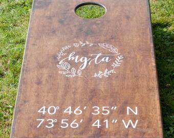 CUSTOM Cornhole Decals | Wedding Monogram | Cornhole decal set | vinyl decals