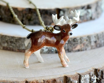 Hand Painted Porcelain Buck Necklace, Antique Bronze Chain, Vintage Style Deer, Ceramic Animal Pendant & Chain (CA010)