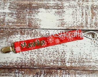 Pacifier Clip, Christmas Pacifier Clip, Personalized Pacifier Clip