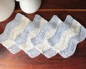 Crochet Cotton Coasters ~ Set of 4 Mug Rugs ~ Neutral Colors ~ Beach Ripple Pattern