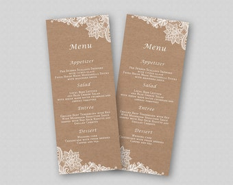 Wedding Menu Template, Kraft Wedding Menu Printable, Rustic Wedding Menu Card, Lace Wedding Menu, Elegant Ornate Lace on Kraft Paper Texture
