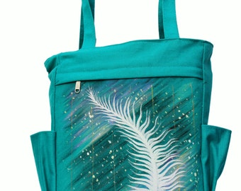 Hand Painted Feather Woman Canvas Tote Bag, Hanp Painted
