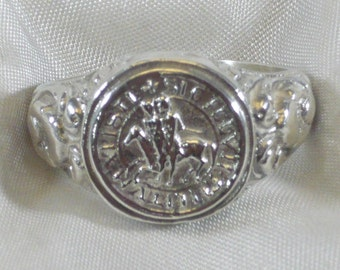 Anello sigillo templari  in argento 925 millesimi sterling silver templar knight ring