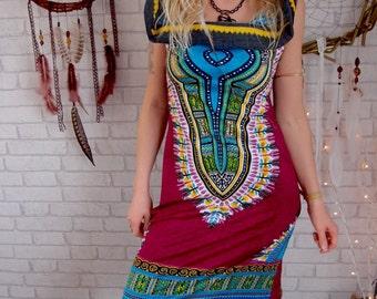 Hoodie Dress Enchanted burgundy , Festival Clothing, Festival Dress, Tribal, Tribal Dress, Hippie, Hoodie Dress