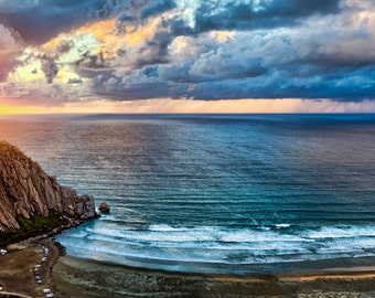 Morro Rock Sunset, Panoramic View, Ocean Photography, Sunset Photography