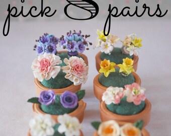 8 pairs of flower earrings/you choose/flower earrings/flower earrings in a pot/gift for the gardener/gift for her/flower stud earrings/posts