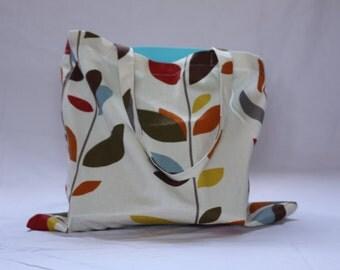Unusual Leaf Design Cotton Tote Bag 43cm x 39cm (Medium Size)