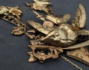 Bird and Dagger Necklace - Antique Brass Stamping - Fairytale Woodland Hummingbird Victorian Sword Bib Necklace