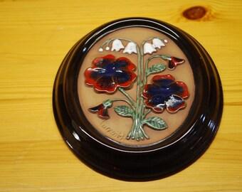 Sale-20%OFF - Gabriel Sweden Vintage ceramic wall plaque 1960 floral, design by Ingegärd Burmeister   flower boquet    home design