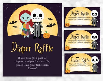 Nightmare Before Christmas Diaper Raffle Sign and Card Printable - Baby Shower Diaper Raffle Game - Instant Download - 023