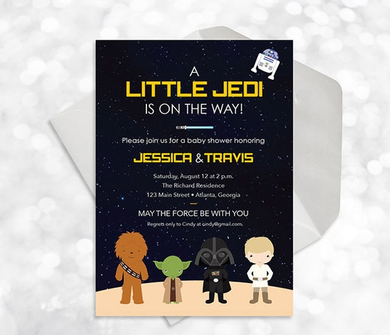 star wars baby shower invitation printable customized baby