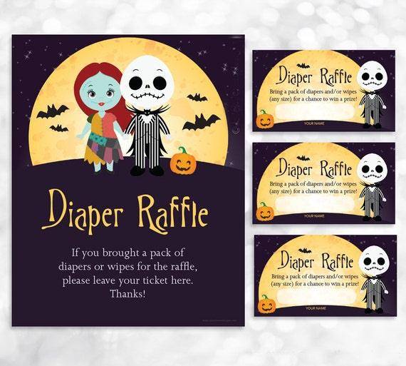 Nightmare Before Christmas Diaper Raffle Sign And Card