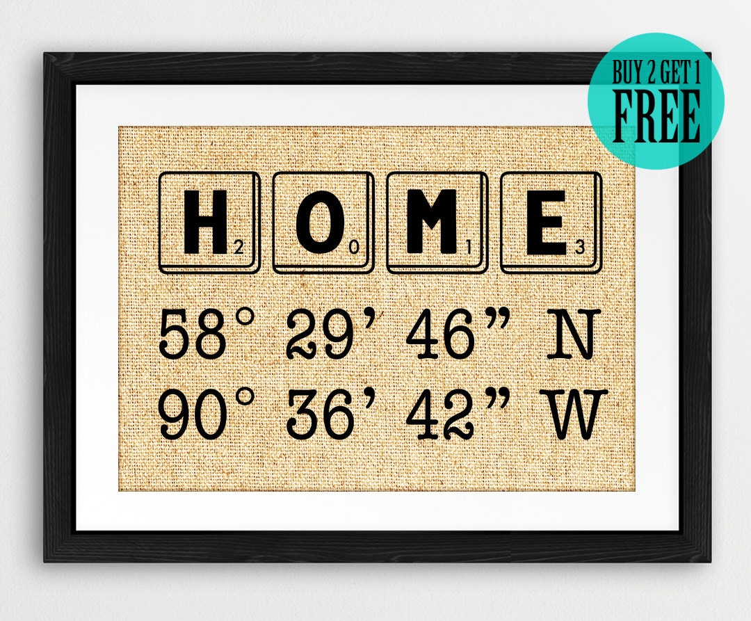 Personalized Home Decor Address Sign Burlap Prints Gps