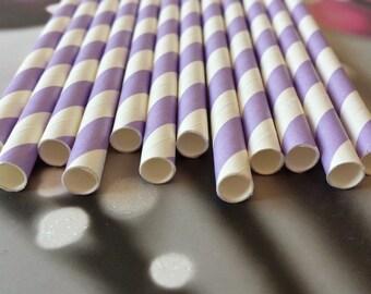 Lot of 12 striped straws purple