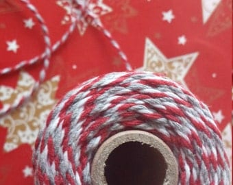 Twine Baker Twine 10 meters red, white and grey Christmas
