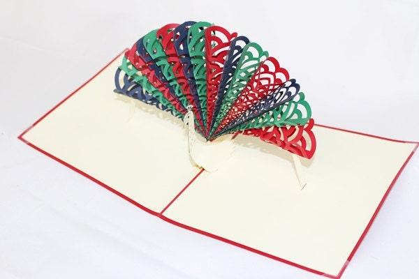 3D Peacock Pop Up Card, Pop Up Greeting Card, Happy Bir