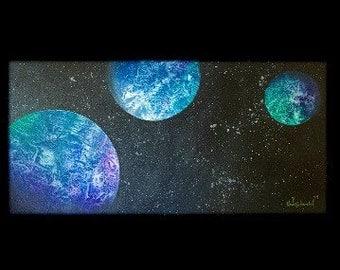 ORIGINAL 18x36 painting of moons - Royal Moons - KacieArtGallery
