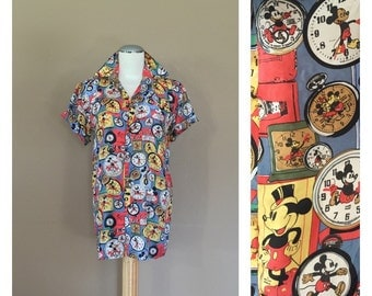 90s Mickey Mouse Shirt / 90s grunge shirt / 80s Shirt / 90s Shirt / Womens Blouse / 80s Blouse / 90s Blouse / 80s clothing / 90s cloth