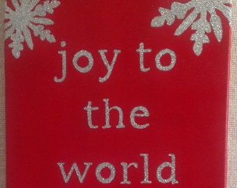 Joy to the World Christmas Canvas Art with Snowflakes in Red and Silver
