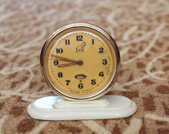 Vintage Clock Drujba, USSR Soviet Alarm Clock, In Working Condition, Analog 1960s 11 Jewels