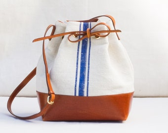 Antique linen & leather Bucket Bag