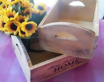 """Sale! Set of 2 Wooden crates, rustic decoration,Wooden Rustic Look boxes,Wooden crates,Shabby Chic """"Home sweet home"""" boxes"""