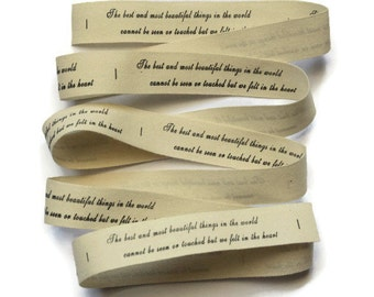 Quote Zakka Ribbon. Crafty Projects. 1 Meter. Hues of Beige and Brown.