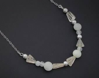 """Necklace, Sterling Silver Necklace, Silver and Gray Quartz, Beaded Necklace, Fashion Necklace, 21"""" Necklace"""