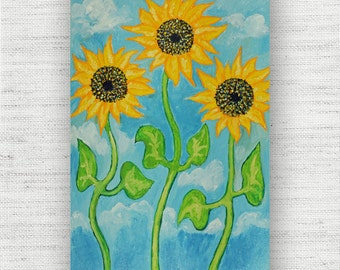 Sunflower Painting Print Canvas Art from Yellow Floral Fine Art Canvas Painting - Yellow Sunflower Art Print