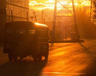 School Bus Sunset