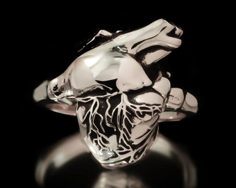 Anatomical Heart Ring Sterling Silver Anatomy Medical Jewelry