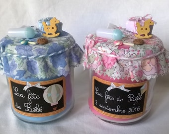 "Candle ""Party baby"" customizable pink or blue, with gift bag"