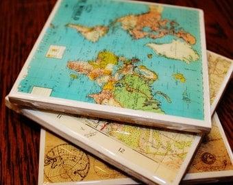 Vintage Map Coasters | Custom Maps