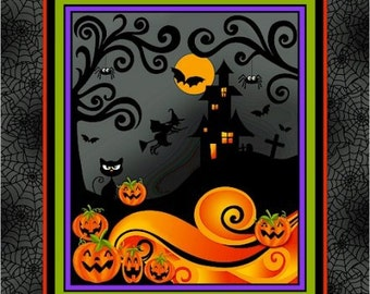 Marcus halloween fabric panel who's watching owl moon cat pumpkin spider web witch  cotton quilt fabric