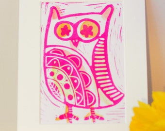 Little Owl Lino Print