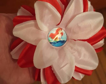 Red and white layered flower hair clip with cachbon little mermaid center